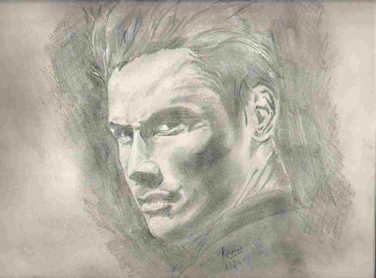 Ritratto maschile, disegno di un uomo, tecnica di chiaro scuro, cose facili da disegnare
