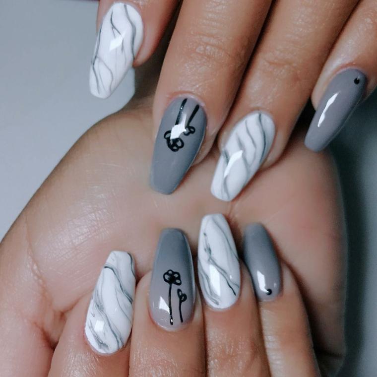 Unghie ballerina, disegni sulle unghie, smalto colore grigio lucido