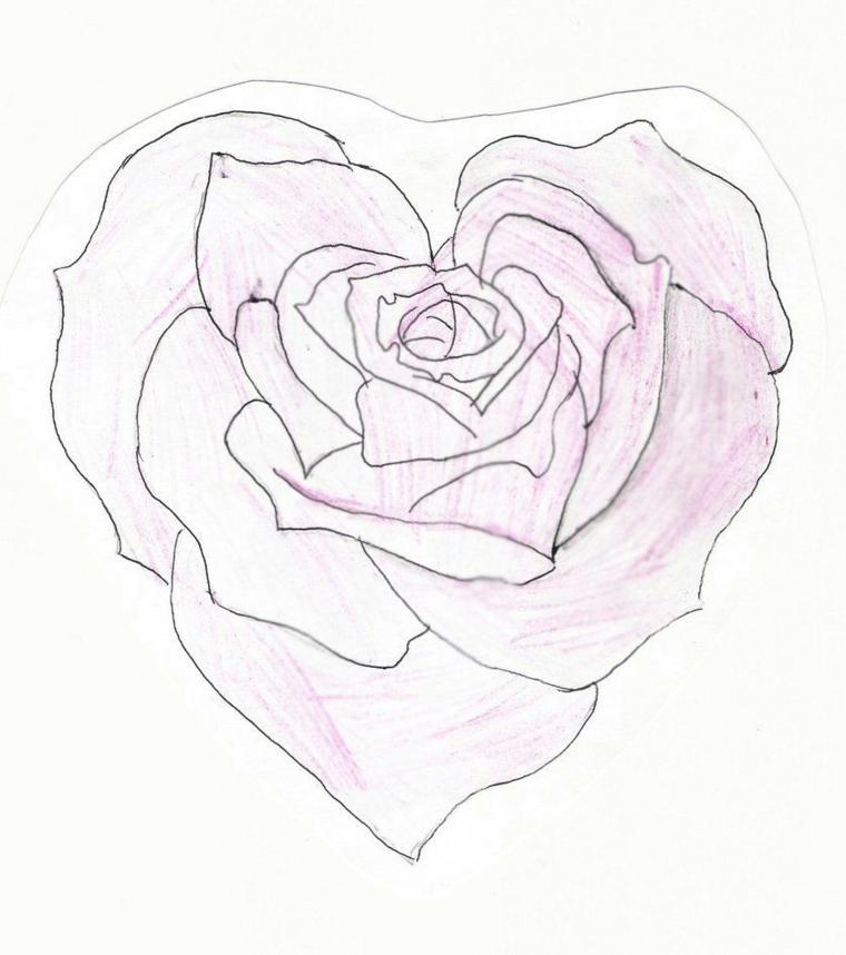Petali rosa forma a cuore, disegno a matita, fiori facili da disegnare