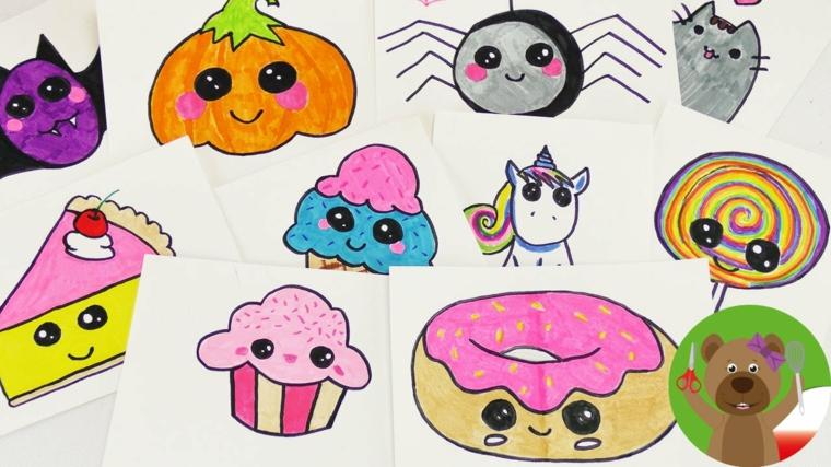 Disegni kawaii di cibo, ciambella colorata con faccina, animaletti kawaii colorati