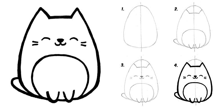 Immagini da disegnare facili, disegno di un gattino, tutorial disegno a matita