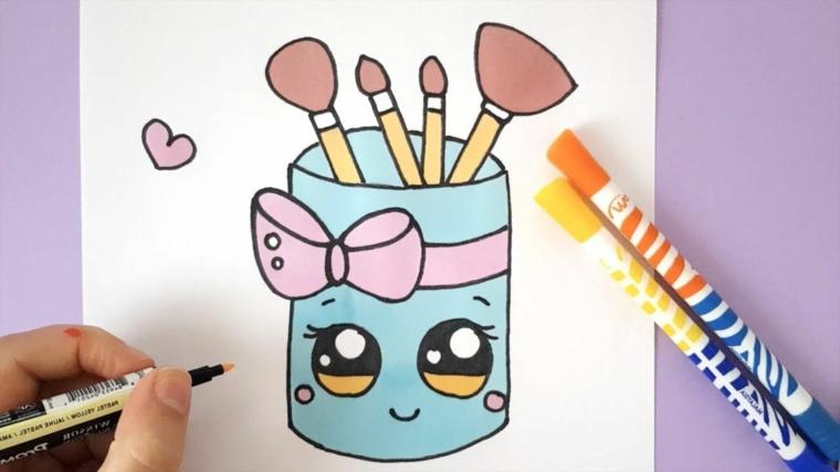 Pennarelli colorati per disegno, disegno di un contenitore, disegni kawaii
