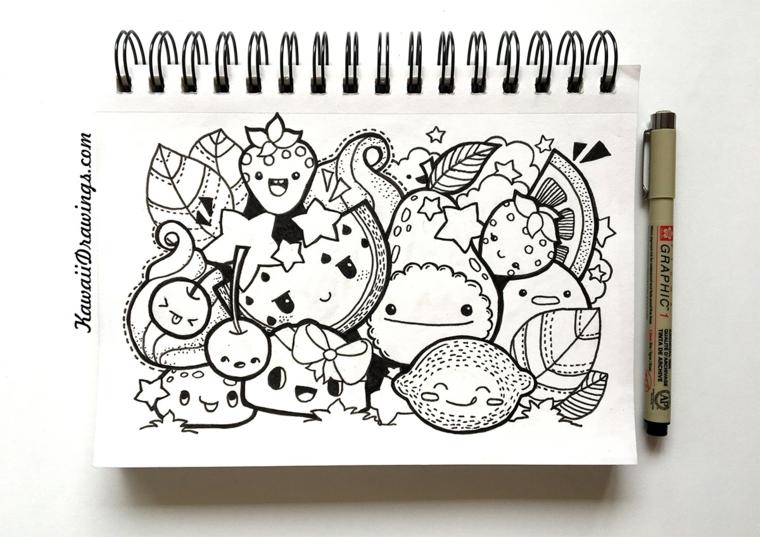 Quaderno ad anelli, disegno su quaderno, immagini kawaii, schizzi di frutta con faccine