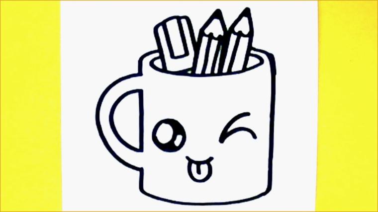 Disegni facili da disegnare, disegno di una tazza, tazza con faccina, disegno da colorare