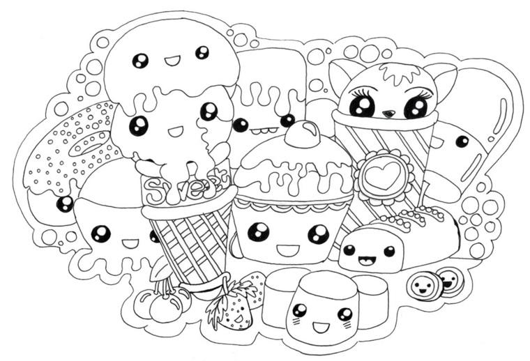 Disegni kawaii, disegni cibo con faccine, schizzi da colorare, caramelle e gelato