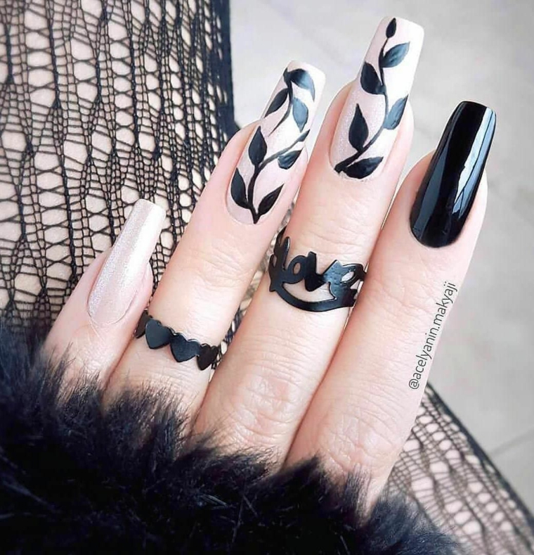 Unghie quadrate, disegni sulle unghie, smalto colore nero lucido