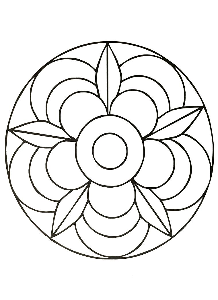 Disegni da colorare antistress, cerchio con fiore, disegni di semicerchi