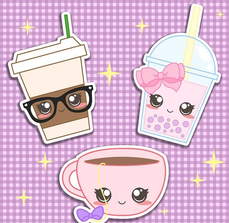 Immagini kawaii, disegno colorato di bicchieri, bicchieri di carta con faccine