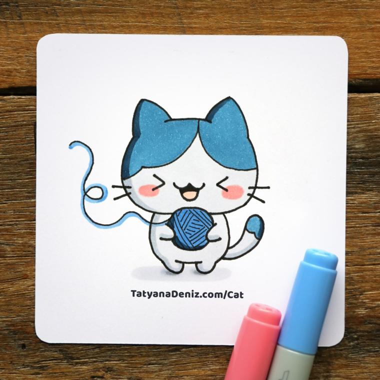 Immagini kawaii, disegno di un gattino, disegno con pennarelli colorati