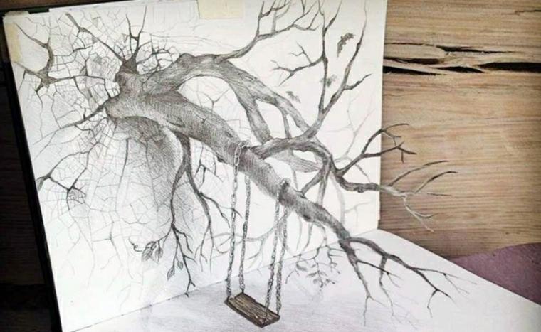 Impara a disegnare, disegno di un albero, dondolo su un ramo