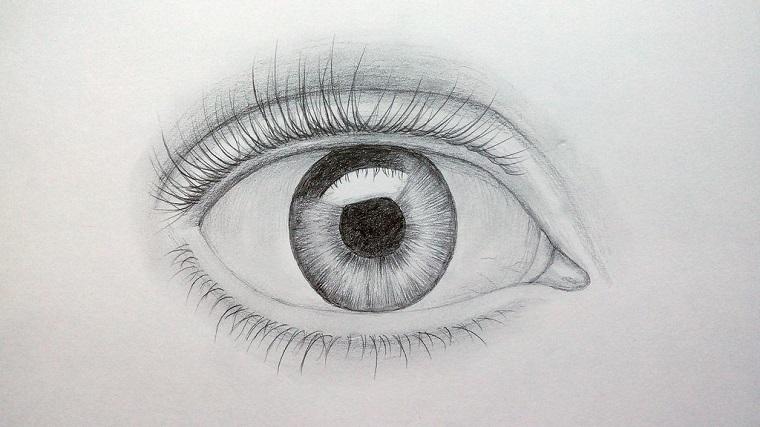 Disegni da copiare facili e belli, disegno di un occhio, rappresentazione con matita