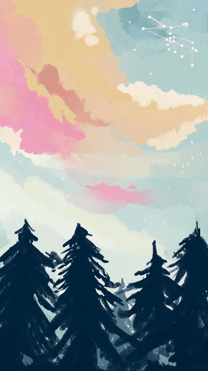 Effetti foto stile tumblr, disegno colorato astratto, disegno di una foresta