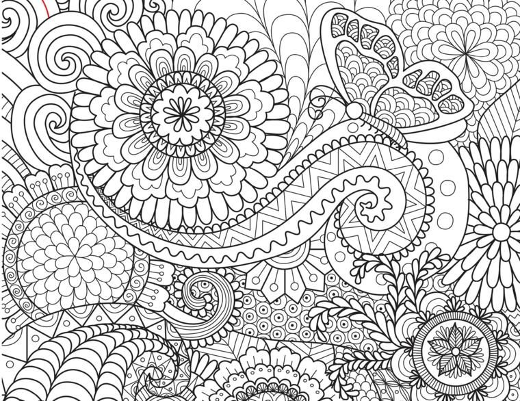 Mandala difficile da disegnare, raffigurazione di fiori, ornamenti a spirale