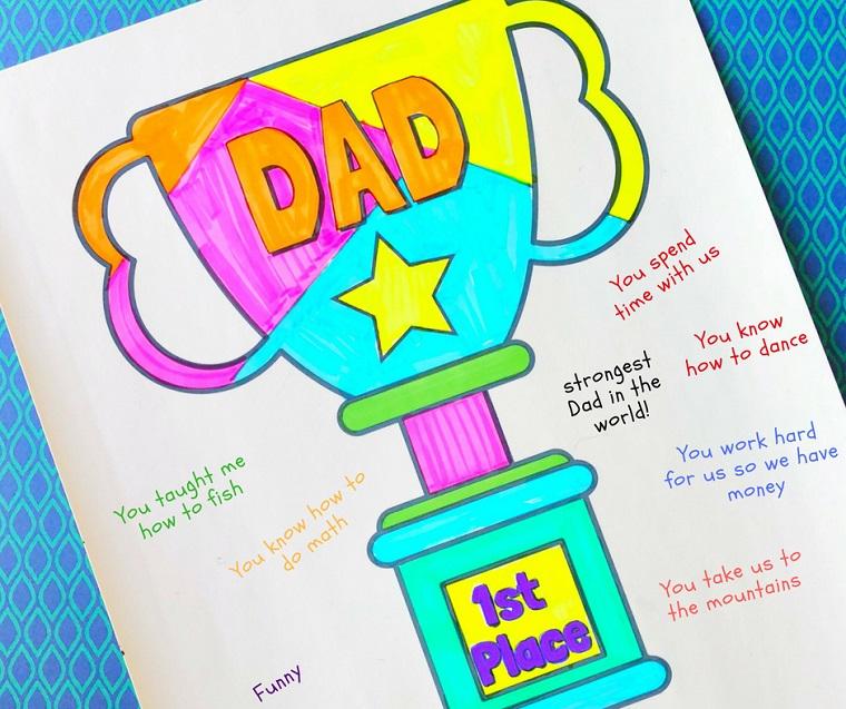 Disegno da colorare, cosa regalare per la festa del papà, disegno di un trofeo