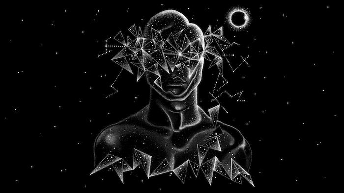 Sfondo per il cellulare, disegno grafico di un uomo, figure geometriche
