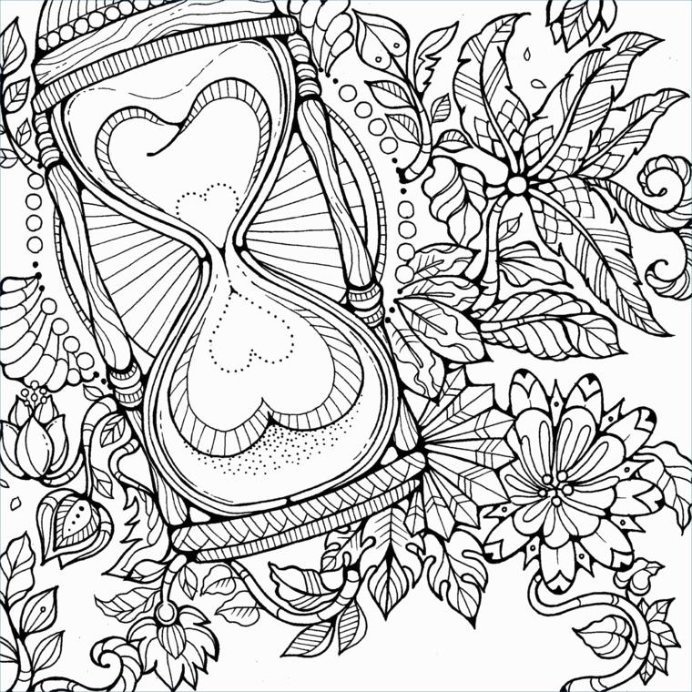 Disegni di fiori mandala, raffigurazione da colorare, cuori a puntini