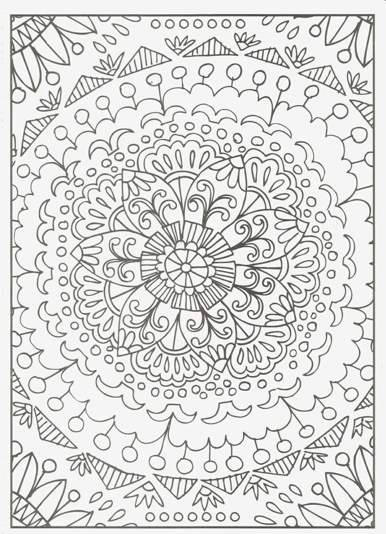 Mandala difficile da colorare, disegni di fiori, forme geometriche