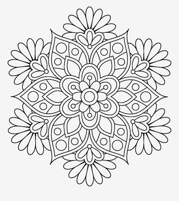 Mandala difficile, disegno di un mandala, raffigurazione da colorare
