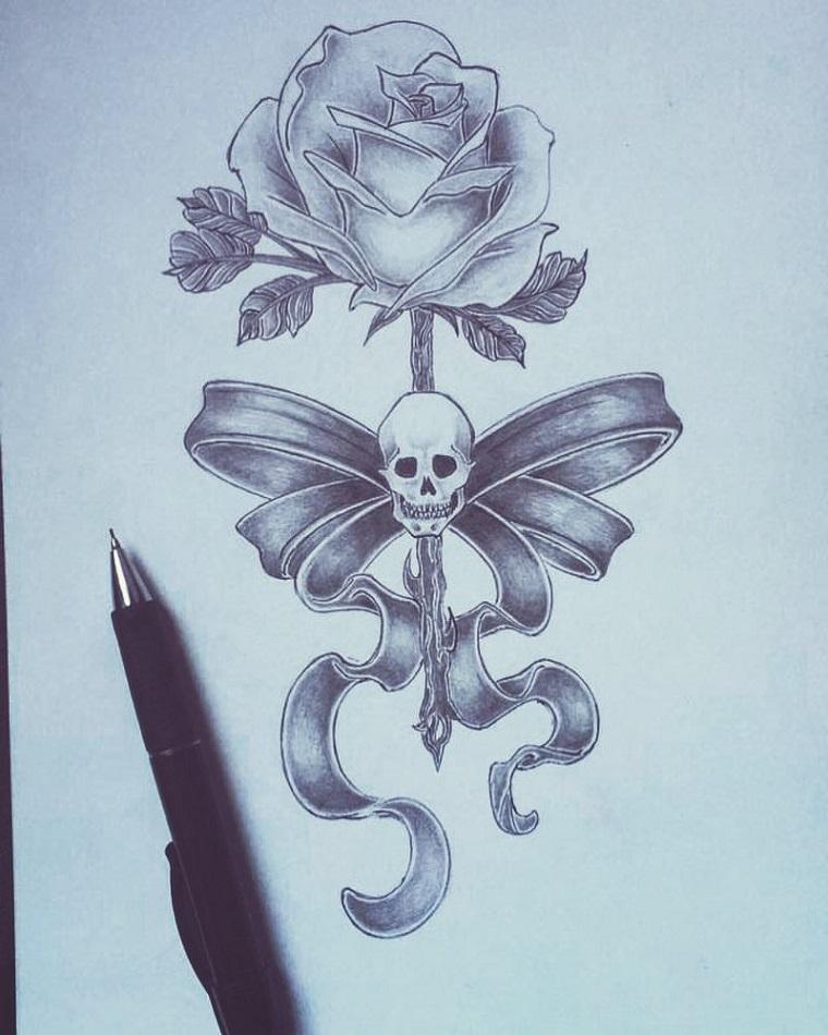 Schizzo di un teschio, disegno a matita, rosa con teschio