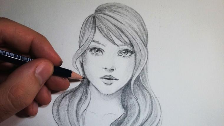 Immagini belle da disegnare, ritratto femminile, schizzo a matita