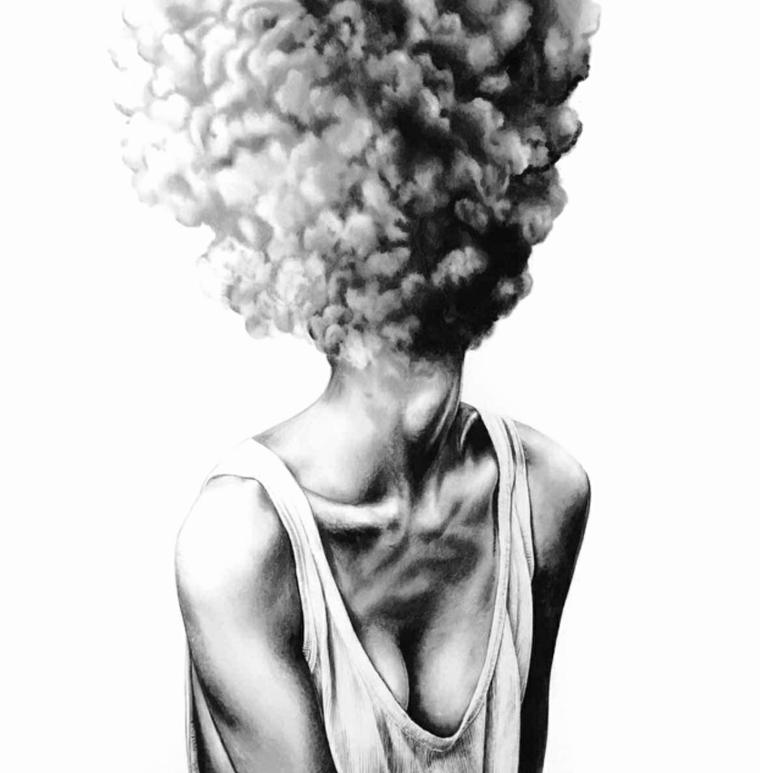 Disegno con significato, disegnare con matita, testa in fumo