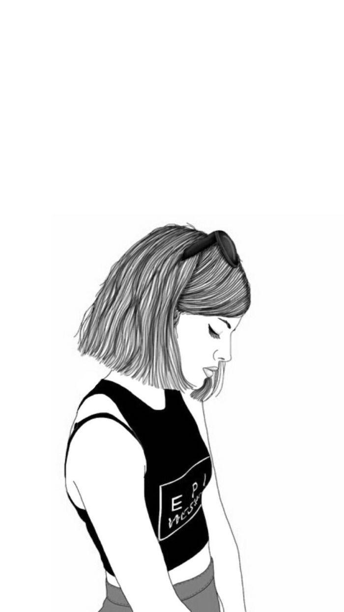 Tumblr backgrounds, disegno di una ragazza, disegno con sfondi bianco