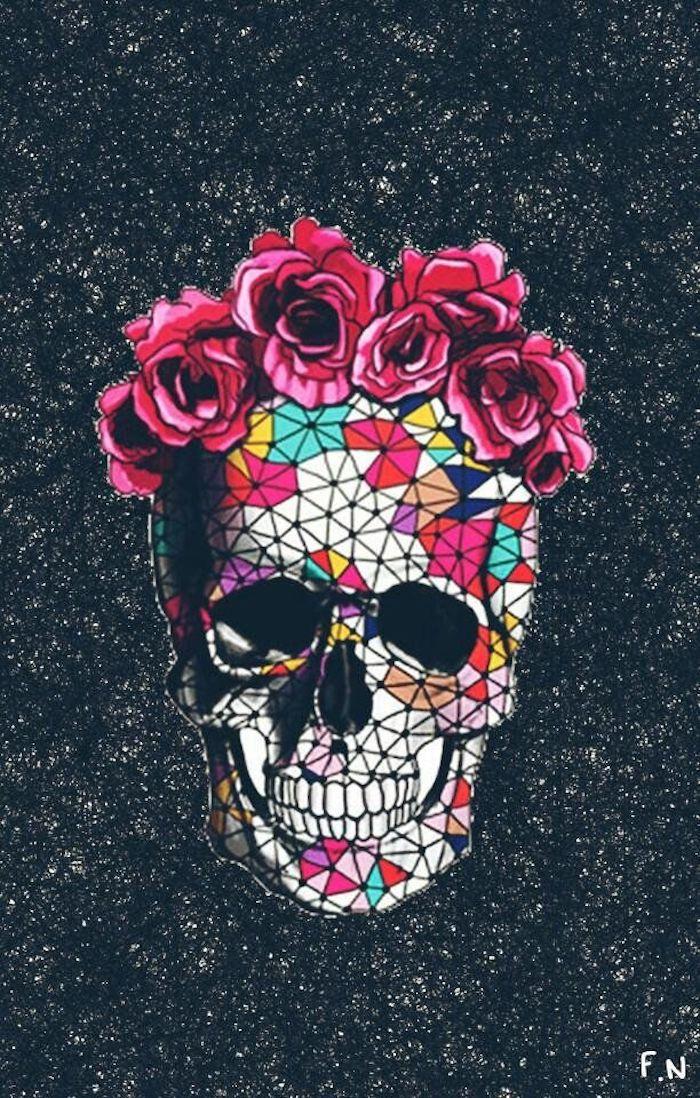 Disegno grafico con teschio, sugar skull con rose, immagini tumblr sfondi