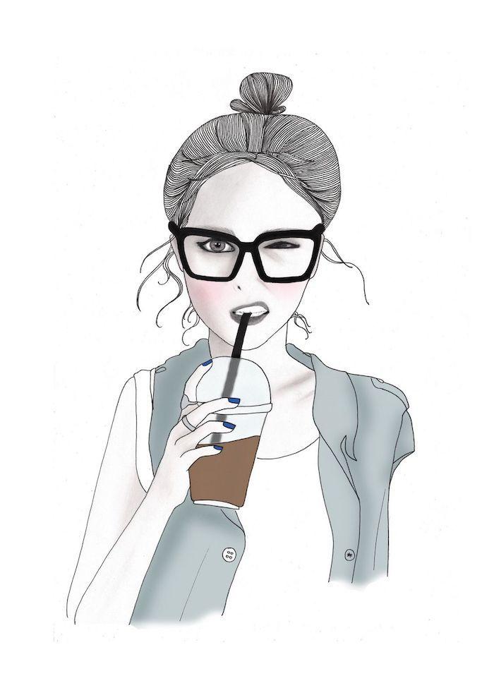 Disegno di una ragazza, immagini sfondi tumblr, ragazza che beve caffè