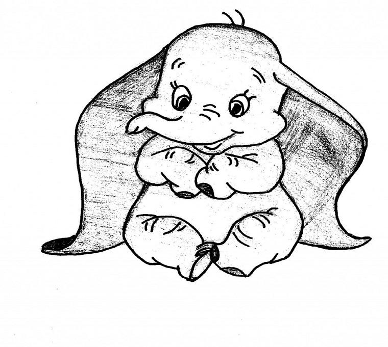 Disegno di un elefante, schizzo a matita, disegni da copiare facili e belli