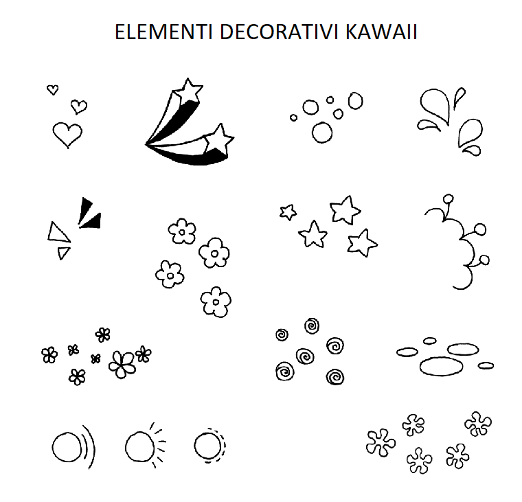 Immagini kawaii, disegni di fiorellini, elementi da colorare, disegno di stella cadente