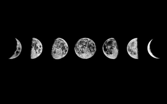 Foto delle fasi della luna, sfondi per il computer, sfondo foto colore nero