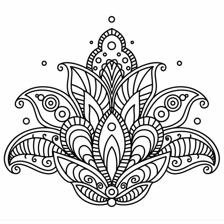 Mandala significato, disegno di fiore di loto, ornamenti con piccoli cerchi