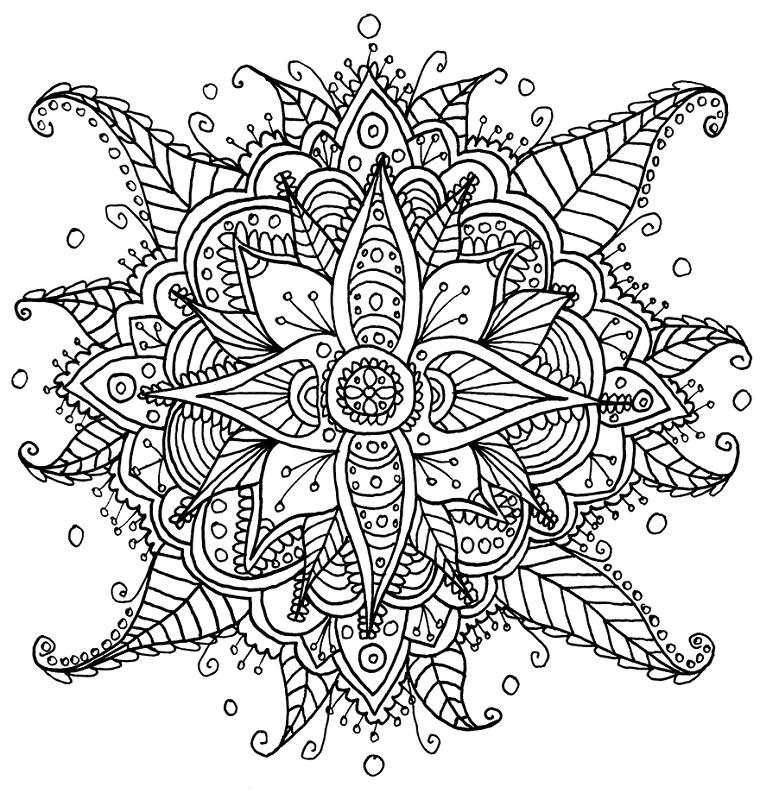 Raffigurazione di un mandala, disegni di fiori mandala