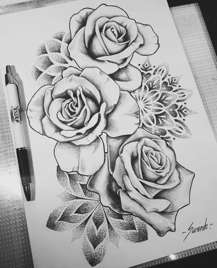 Disegni facili da disegnare a mano libera, disegni di rose, schizzo su foglio bianco