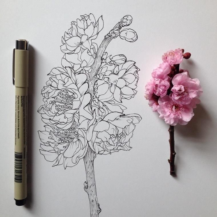 Fiori facili da disegnare, disegno di un fiore, rametto fiorito