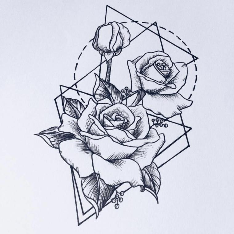 Disegni di forme geometriche, triangoli e quadrati, disegni di rose