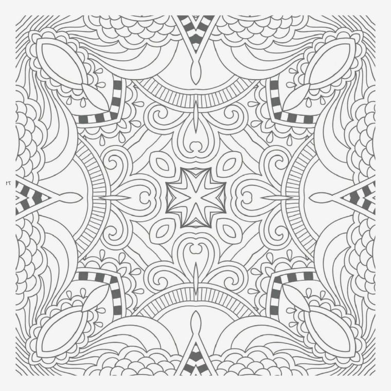 Disegno con semicerchi, disegno da colorare, motivi mandala