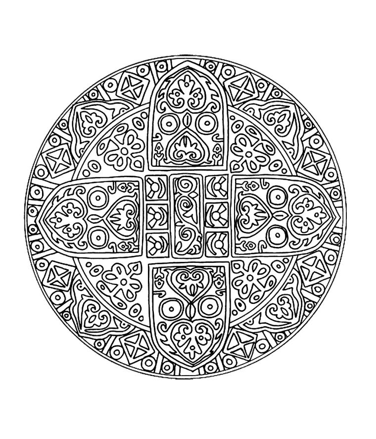 Disegno con fiori, schizzo da colorare, raffigurazione di un mandala