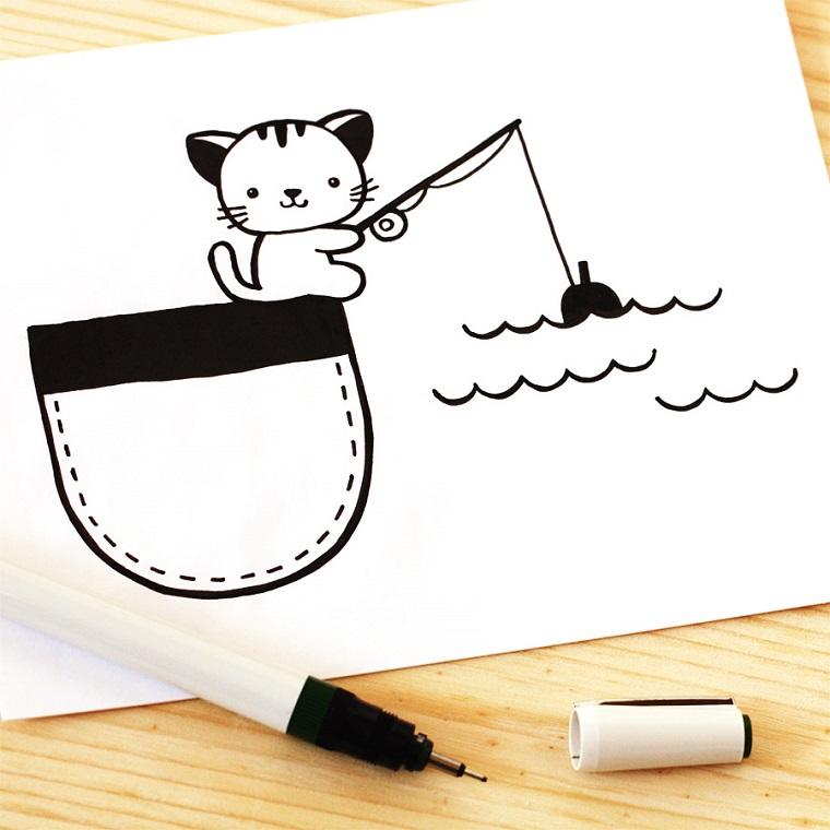 Disegni kawaii, disegno con pennarello nero, disegno di un gattino che pesca