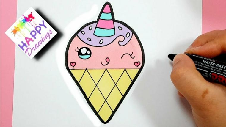Disegni facili da copiare, disegno di un cono gelato, disegno da colorare per bambini