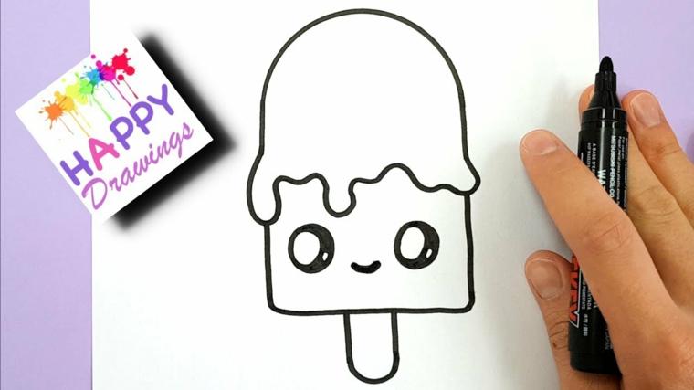 Disegni facili ma belli, disegno con pennarello nero, schizzo di un gelato con faccina