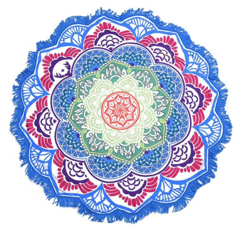 Disegno mandala colorato, ornamenti floreali, semicerchi colorati