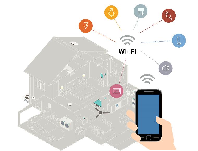 Controllare la casa con Wi-Fi, disegno di una casa