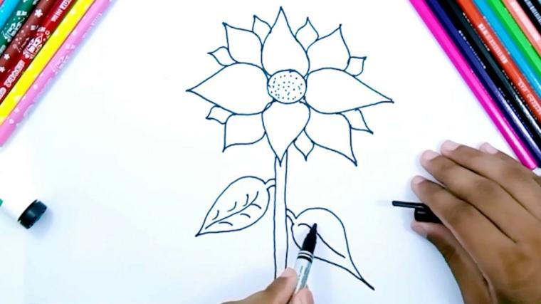 Disegni da copiare facili e belli, disegno di un fiore, colorare con le matite