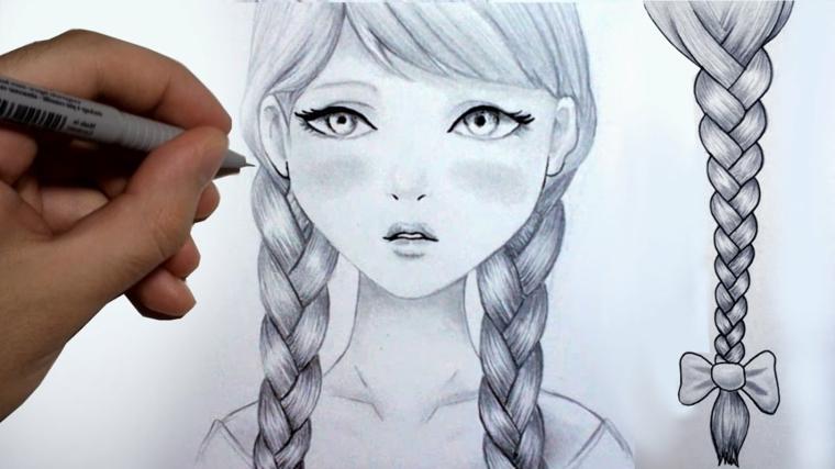 Ragazza con trecce, disegni tridimensionali, schizzo di una ragazza
