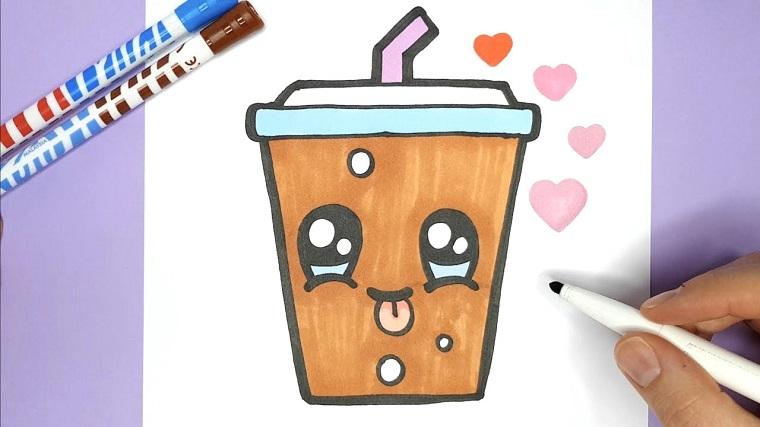 Disegnare un bicchiere di carta, bicchiere con faccina, disegno con pennarello