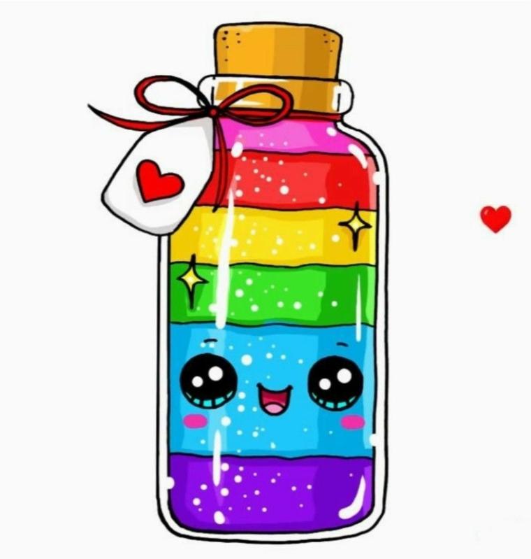 Disegno bottiglia con faccina, schizzo colorato kawaii, bottiglia con tappo di sughero