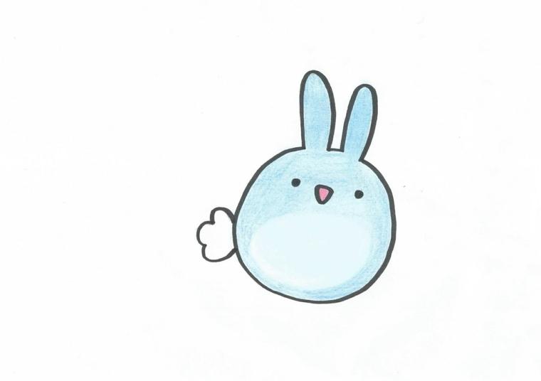 Disegni facili da fare, disegno di un animaletto blu, animaletto kawaii colore azzurro
