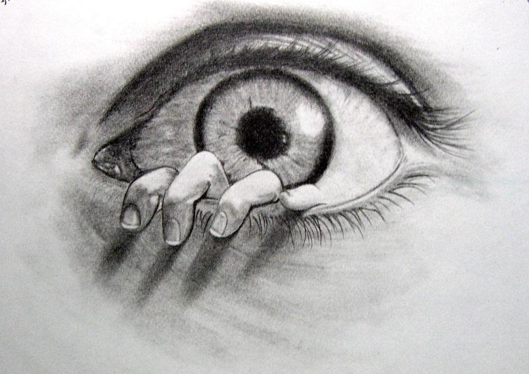Disegni tridimensionali, disegno di un occhio, mano che esce dall'occhio