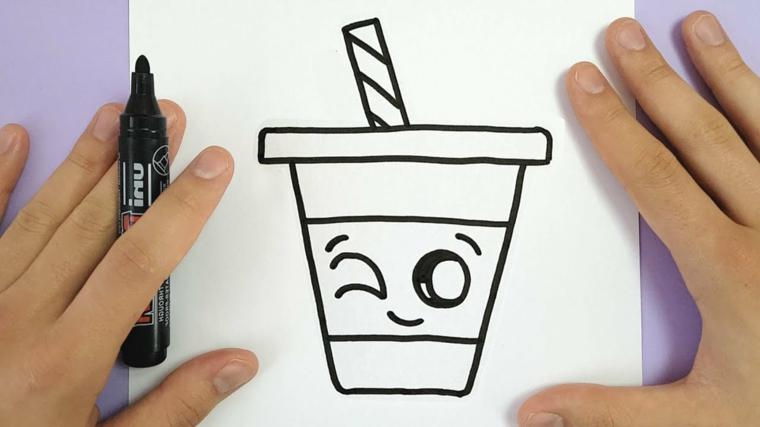 Immagini da disegnare facili, schizzo di un bicchiere, disegno da colorare